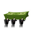 businessman carrying pile money business man vector image
