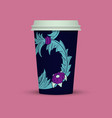 blue abstract cover for plastic coffee cup vector image vector image