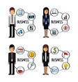 business people standing character with business vector image vector image
