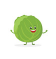 cabbage cartoon character isolated on white vector image vector image
