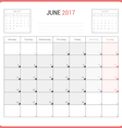 Calendar Planner for June 2017 vector image vector image