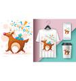 cartoon deer with bird - mockup for your idea vector image vector image