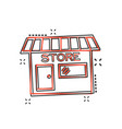 cartoon store house icon in comic style shop sign vector image vector image