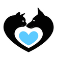 cat and dog in the heart vector image vector image