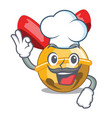 chef christmas decoration in bell balls cartoon vector image