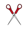 color silhouette image cartoon scissors tool for vector image