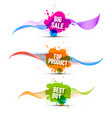 colorful pomotion labels set big sale top product vector image vector image