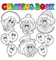 coloring book with funny clowns vector image