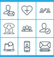 communication icons set with communication approv vector image vector image