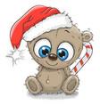 cute cartoon teddy bear in a santa hat vector image vector image