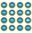cute fish icons blue circle set vector image vector image