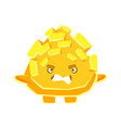 cute yellow crystal stone with vexed face cartoon vector image
