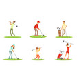 different people characters playing golf outdoor vector image