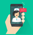 doctor online on mobile phone vector image vector image