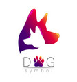 dog logo violet pink yellow tren gradient vector image