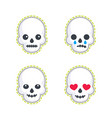emoji with skulls on white vector image