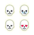 emoji with skulls on white vector image