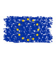 european union flag texture grunge isolated white vector image