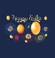 festive spring card for easter with eggs vector image