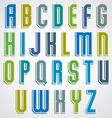 geometric alphabet condensed font in retro poster vector image