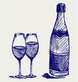 glass wine and a bottle vector image
