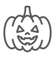 halloween pumpkin line icon autumn vector image