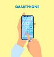 hands holding smartphone flat vector image vector image