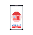 home icon on smartphone screen rent apartments vector image vector image