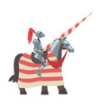 medieval knight on horseback with spear chivalry vector image vector image