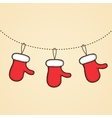 mittens of Santa Claus Design Christmas vector image