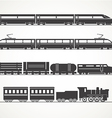 Modern and vintage train silhouette collection vector image vector image