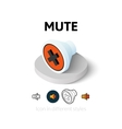 Mute icon in different style vector image