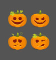 orange halloween pumpkins with carved emotional vector image