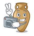 photographer amphora mascot cartoon style vector image