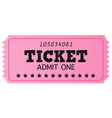 Pink cinema retro ticket isolated on white vector | Price: 1 Credit (USD $1)