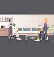 professional cleaners couple women janitors using vector image vector image
