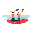 river rafting finish line - cartoon people vector image vector image