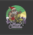 santa claus biker touring vector image vector image