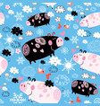 seamless festive new years pattern with pigs vector image