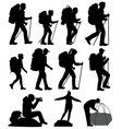 silhouettes of hiking people vector image