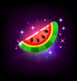 slice sweet ripe pink glossy watermelon slot vector image