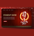standup show landing page website template vector image vector image