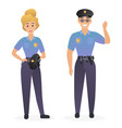 two smiling cute police officers man and woman vector image