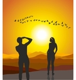 Two women adore flying geese vector image vector image