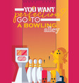 vertical poster for print for bowling center with vector image