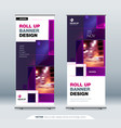 violet business roll up banner abstract roll up vector image