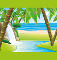 waterfall and palm trees vector image vector image