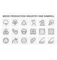 wood production industry and sawmill icon set vector image