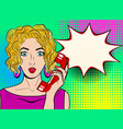 wow pop art female face sexy surprised blond vector image vector image