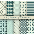 10 Elegant seamless patterns tiling vector image